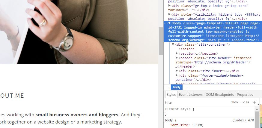 Use Inspect Element to find your page ID to make CSS style changes to a single page in WordPress.